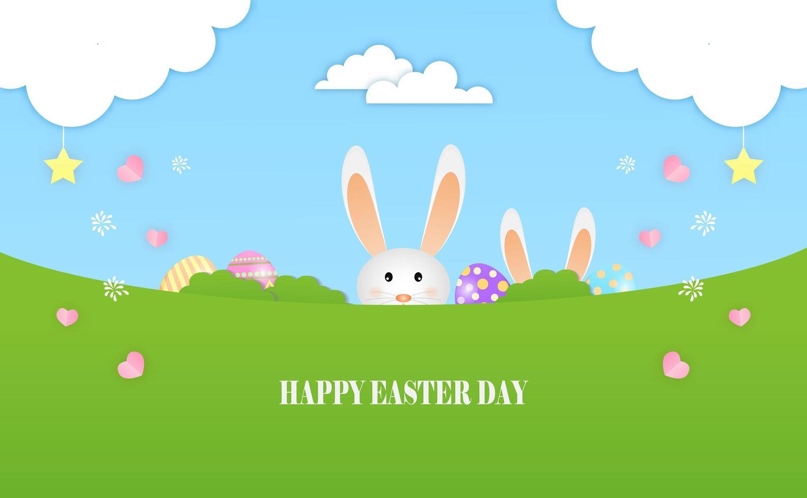 den lilla kaninen leker påskägg på ängen vektor