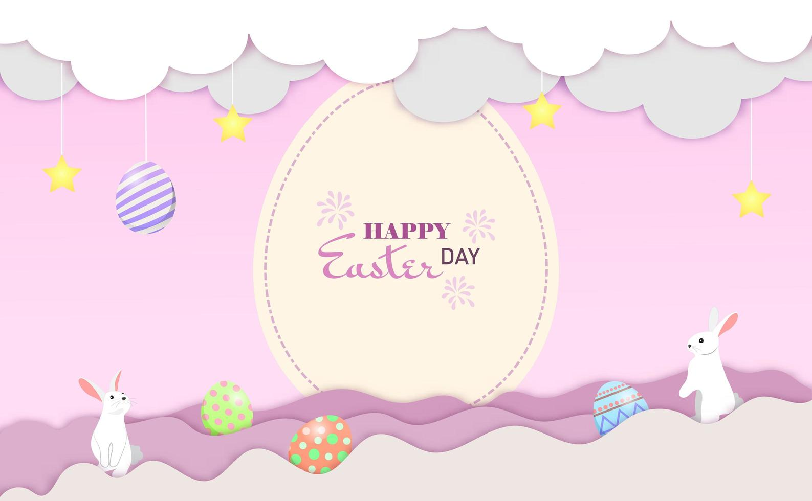 små kaniner hälsning för påskdag på moln. glad påsk vykort vektor. vektor