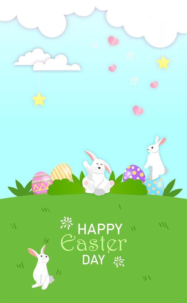 små kaniner spelar göm påskägg på ängen vektor