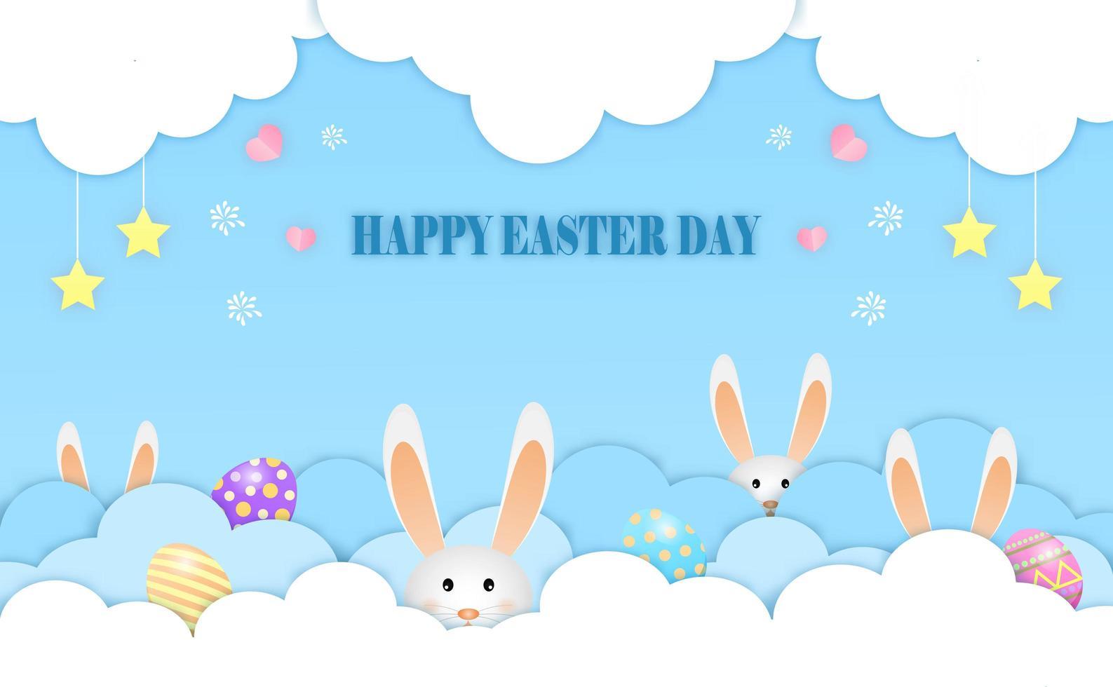 små kaniner spelar göm hud påskägg i molnen glad påsk vykort av vektor. vektor