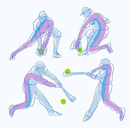 Abstrakt Baseball Player Pose Sketch Hand Drawn Vector Illustration