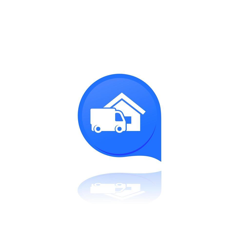 hemleverans ikon med lastbil vektor