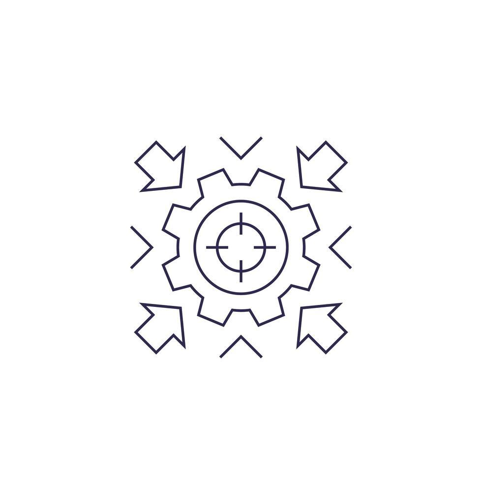 integration koncept vektor ikon med kugghjul, linjär design