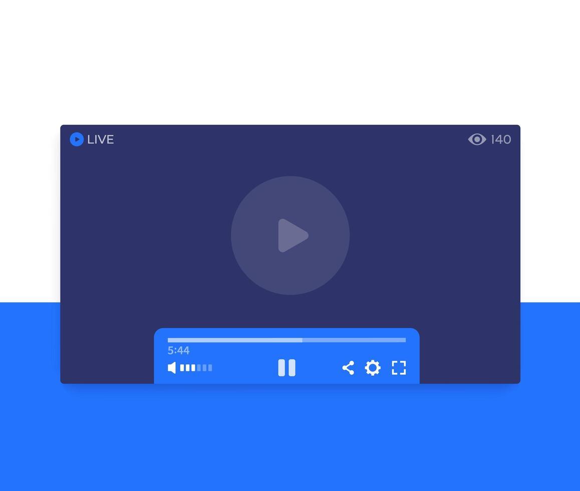 live streaming videospelare, vektor ui design