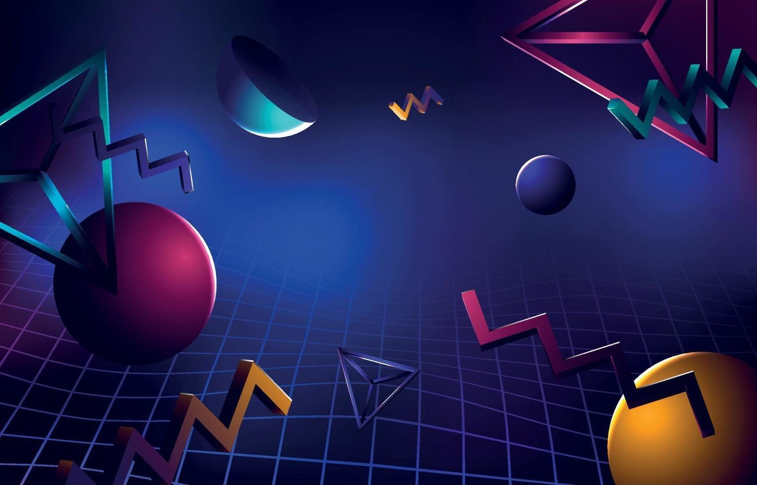 retro futurism bakgrund med 3d objekt vektor