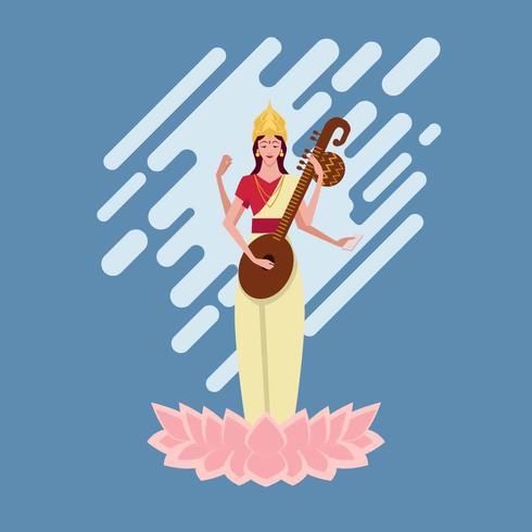 Saraswathi Devi Illustrations-Vektor vektor
