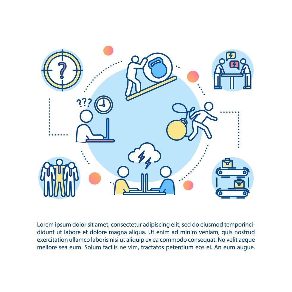 Unternehmenskultur-Konzeptikone mit Text. Cowrokers Beziehung. Missverständnis. Arbeitsüberbelastung. vektor