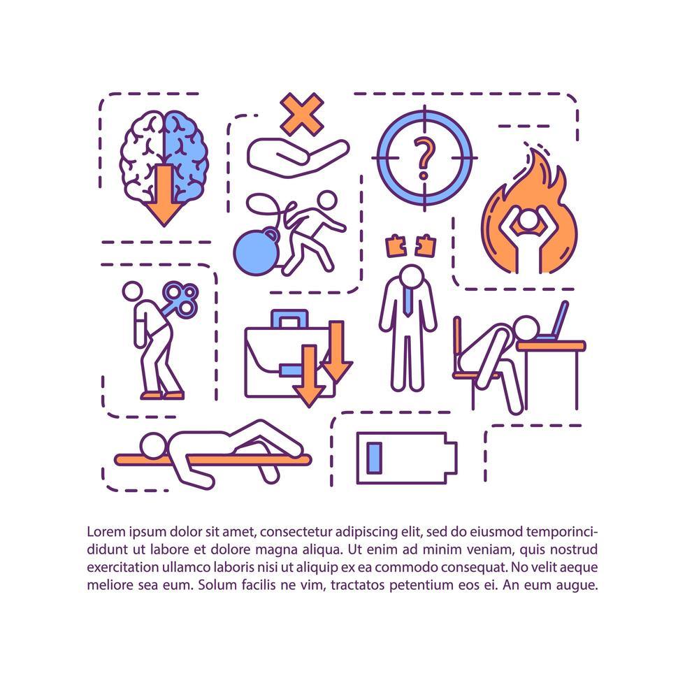 Fehlen eines Motivationskonzeptsymbols mit Text. Angst, wenig Energie. reduzierte Produktivität. ppt Seitenvektorvorlage. Broschüre, Magazin, Booklet-Gestaltungselement mit linearen Abbildungen vektor