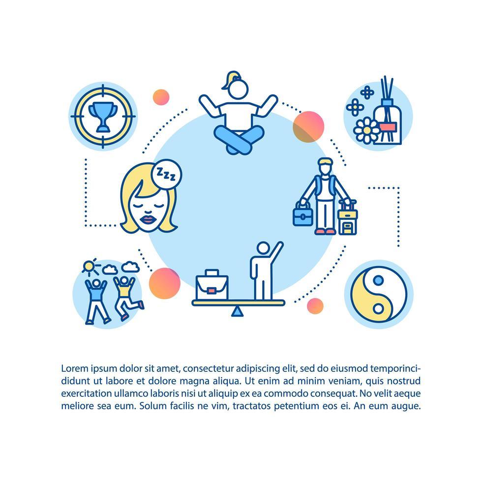 Konzept-Symbol für Freizeitaktivitäten mit Text. Ferien. Vereinbarkeit von Leben und Arbeit. Hobbys, Entspannung. vektor