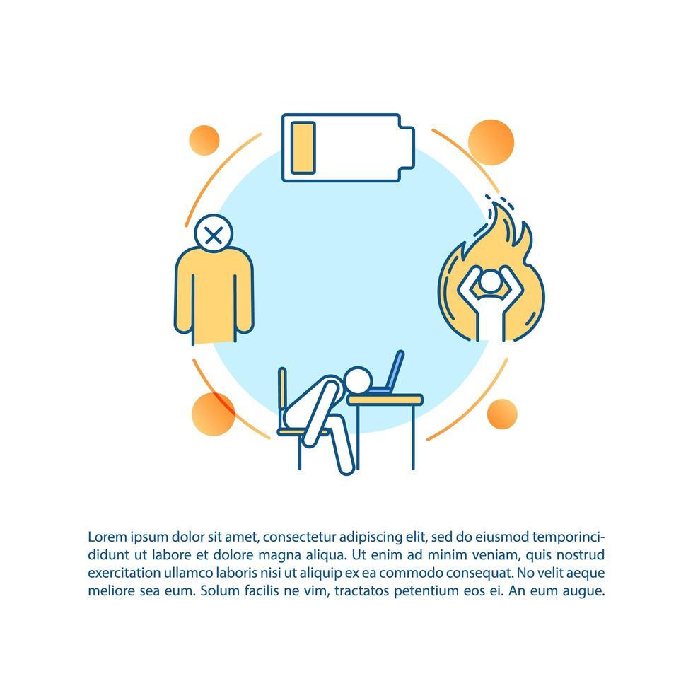 Niedrigenergie-Konzeptsymbol mit Text. Burnout-Kipppunkt. emotionaler Zusammenbruch. Wut, Wut. vektor