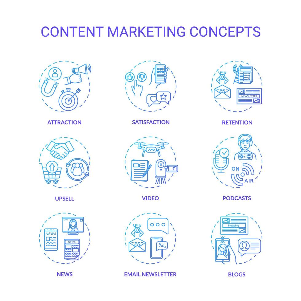 innehåll marknadsföring koncept ikoner set. vektor