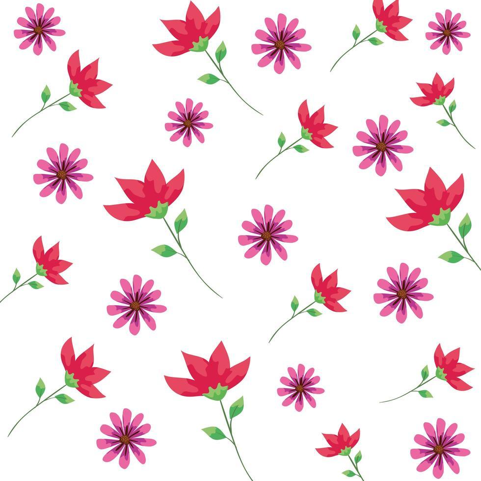 Hintergrund von Blumen und Blättern vektor