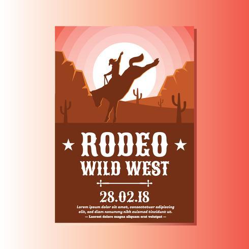 Wild väst med Cowboy Rodeo Visa reklamblad vektor
