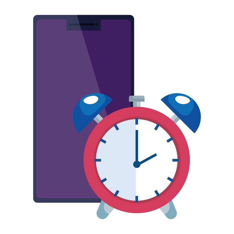 smartphone enhet med väckarklocka isolerad ikon vektor
