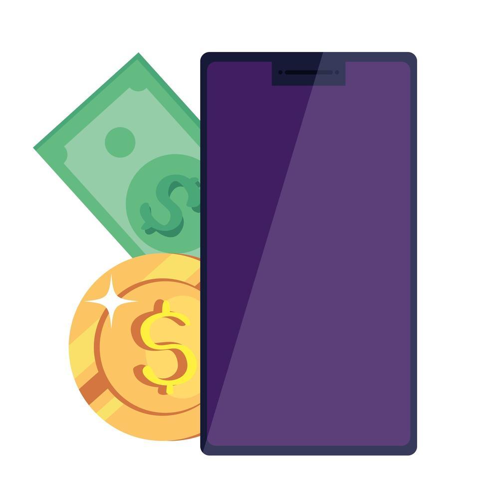 smartphone enhet med pengar kontanter isolerad ikon vektor