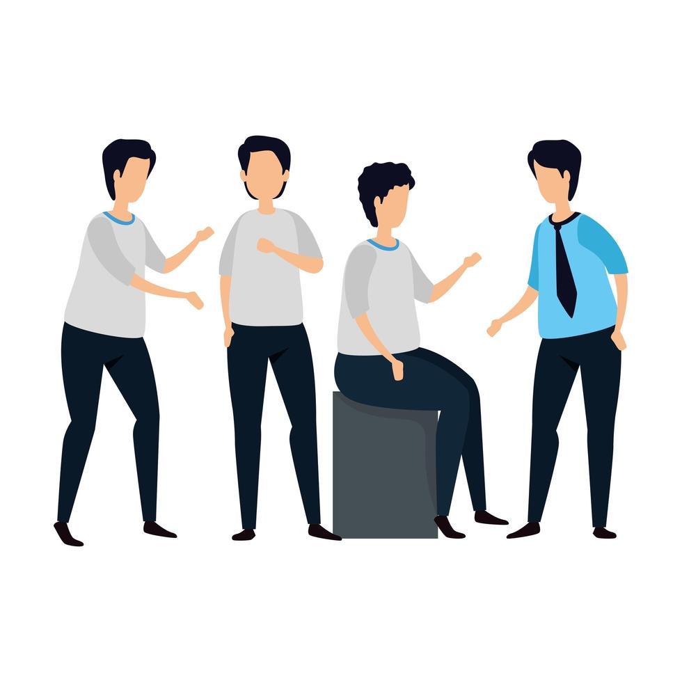 grupp av unga män avatar karaktär vektor