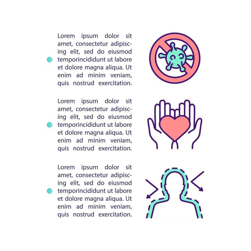 Konzeptikone des gesunden Herzens und des Immunsystems mit Text vektor