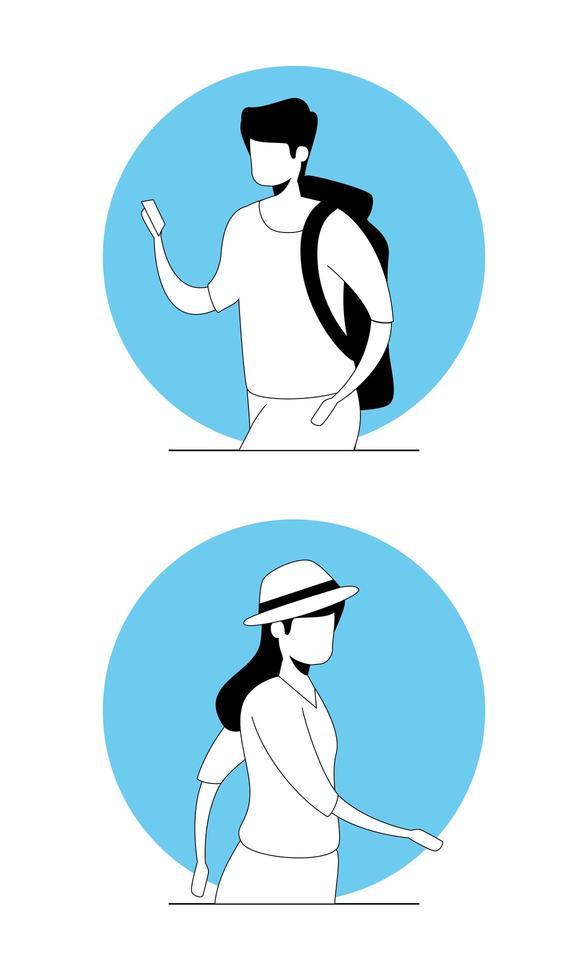 junges Paar Avatar Charakter Symbol vektor