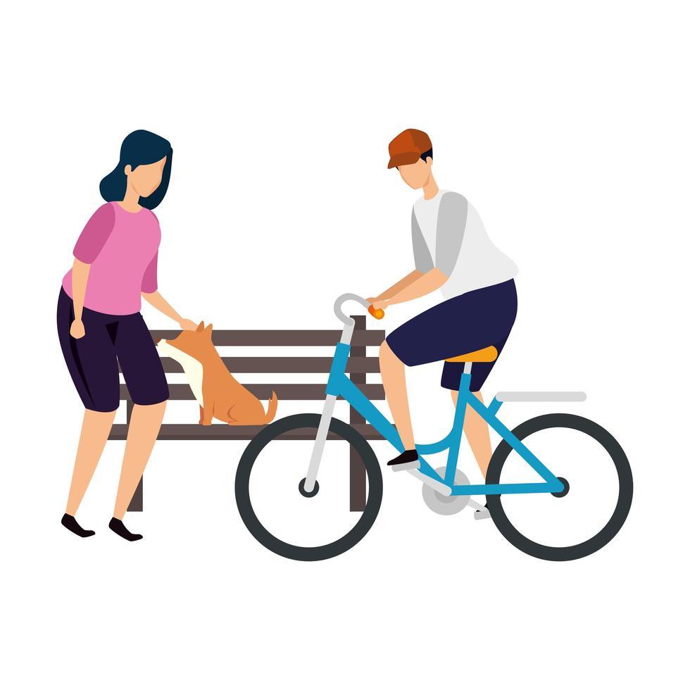 Frau mit Hund und Mann im Fahrrad vektor