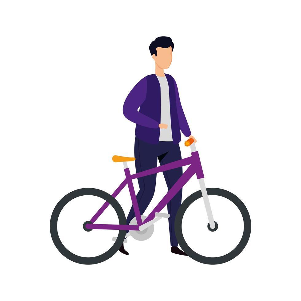 junger Mann mit Fahrrad-Avatar-Charakterikone vektor