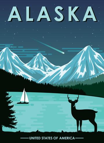 Vykort från Alaska vektor
