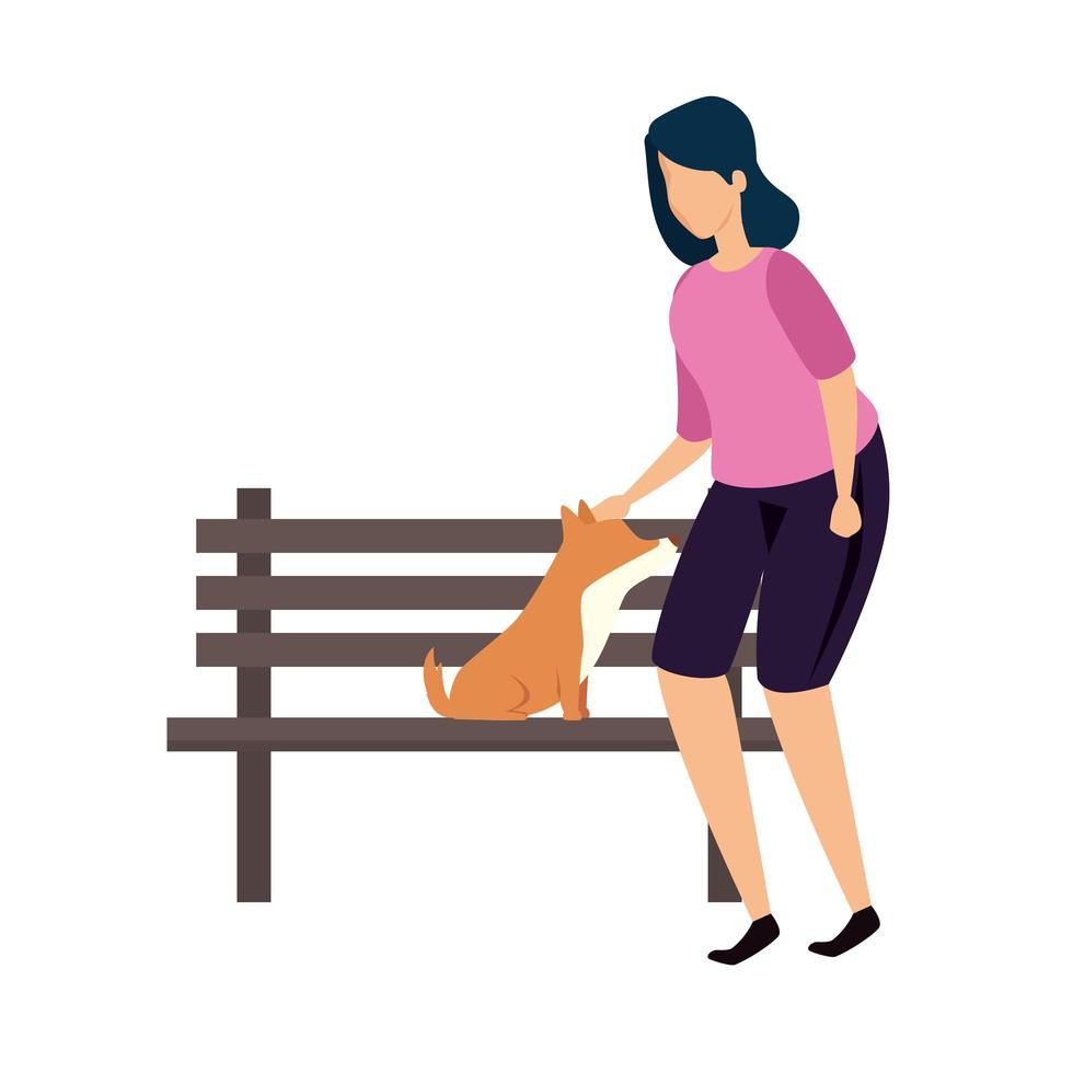kvinna med trästol av park och hund vektor