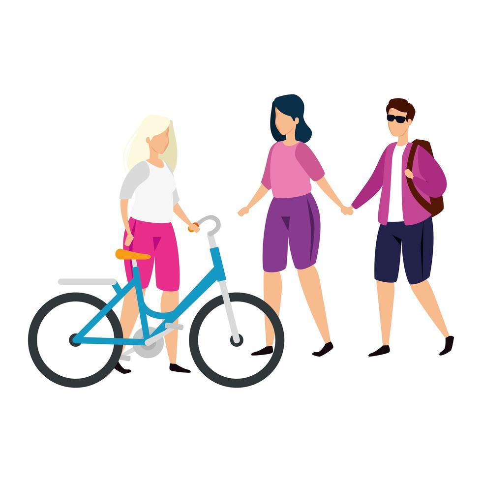 Gruppenleute mit Fahrrad isolierten Symbolen vektor