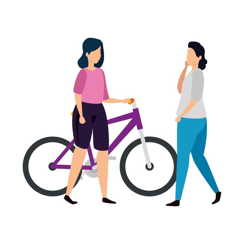 vackra kvinnor i cykel avatar karaktär vektor