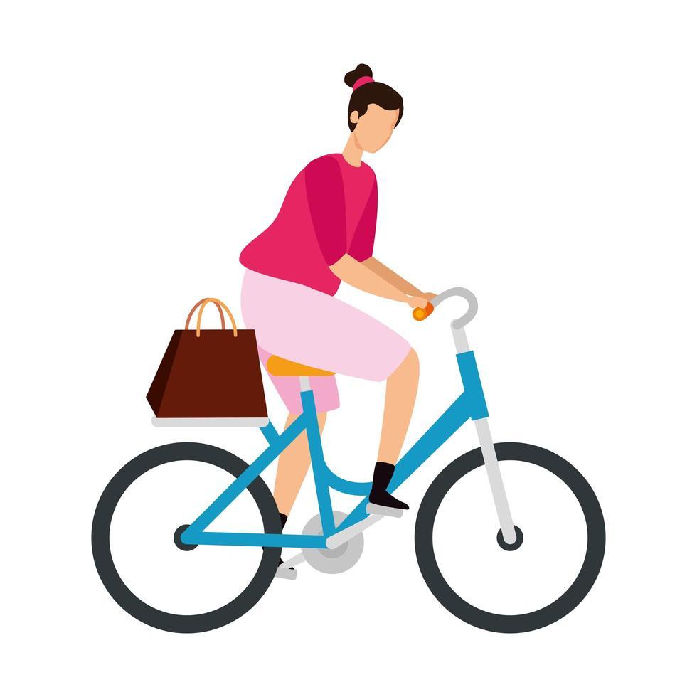 vacker kvinna i cykel avatar karaktär vektor