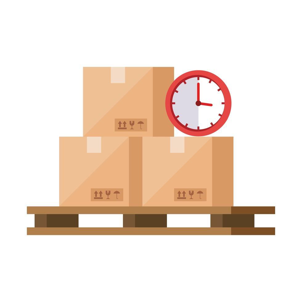 lådor paket med klocka isolerade ikoner vektor