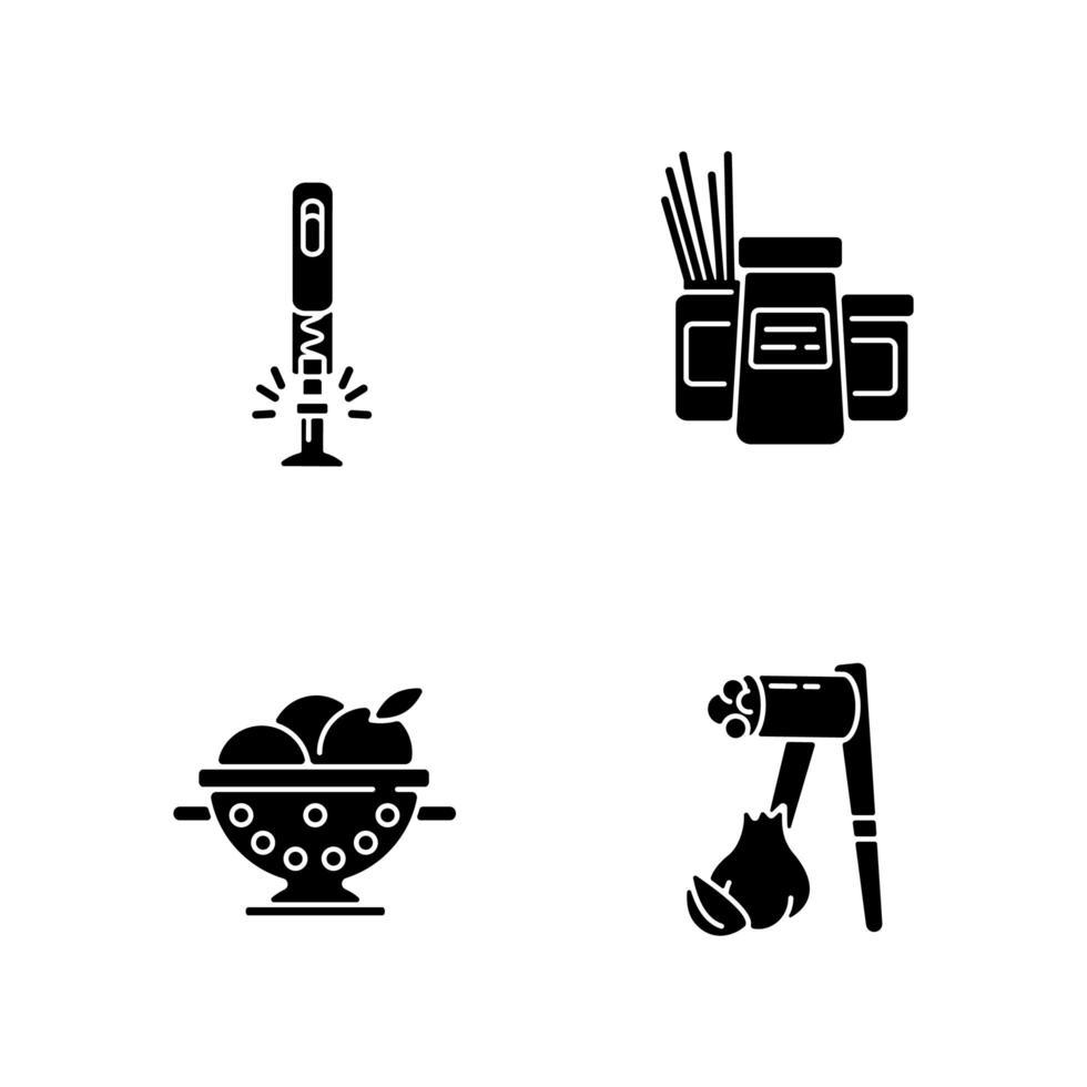 Lebensmittelzubereitungswerkzeuge schwarze Glyphensymbole, die auf Leerraum gesetzt werden vektor