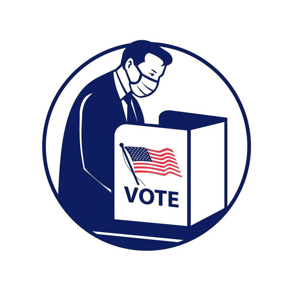 amerikansk väljare som bär ansiktsmask röstar under pandemi vektor