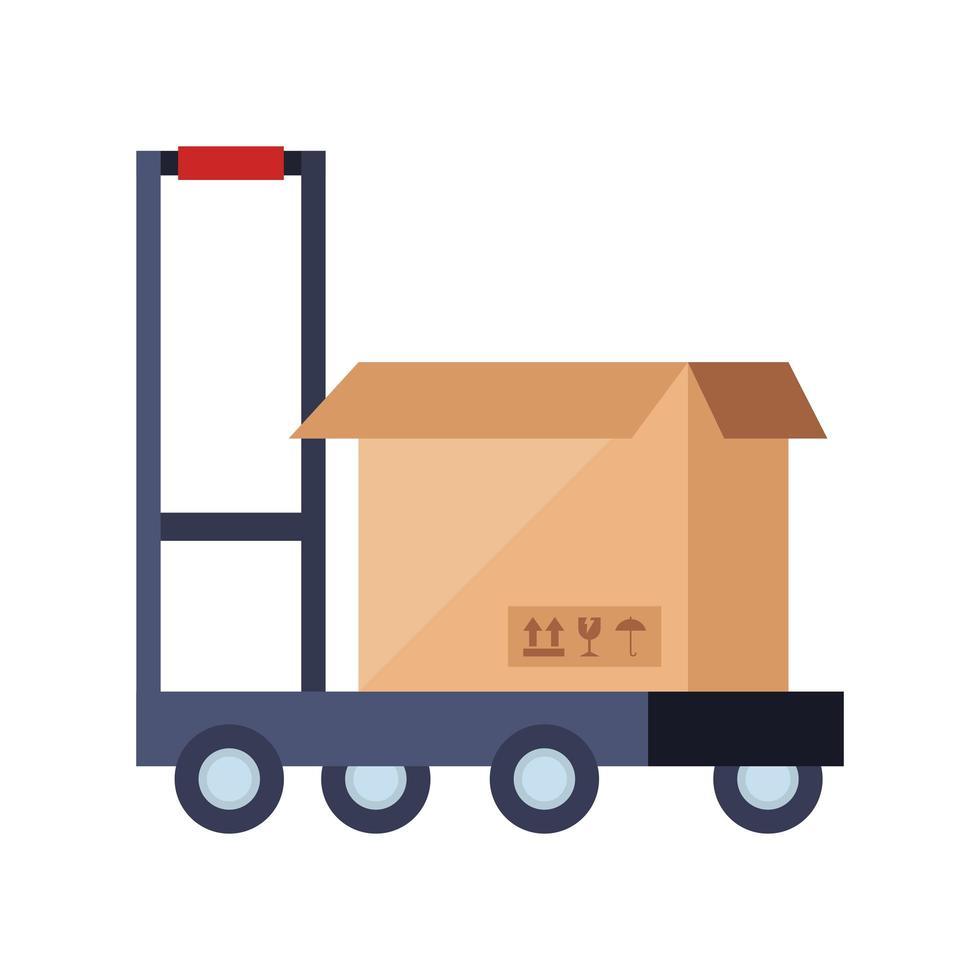låda paket med skottkärra isolerad ikon vektor