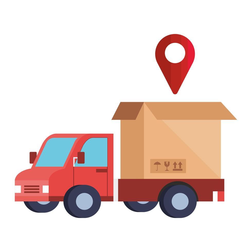 leveransservice med lastbil och låda vektor