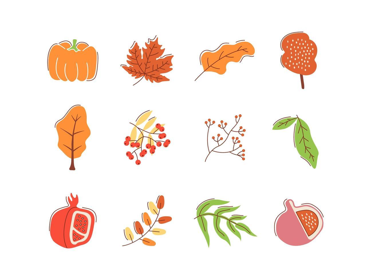 hösten bounty platt vektor abstrakt element set