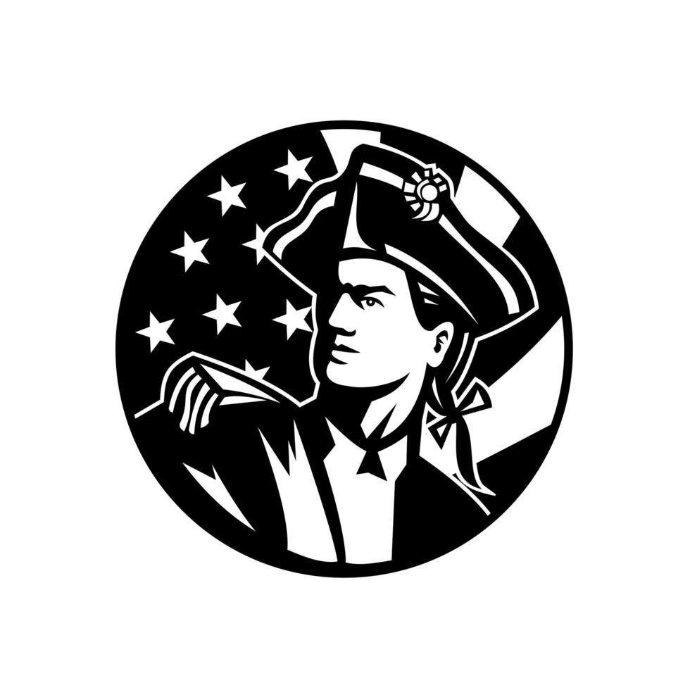 revolutionärer Soldat des amerikanischen Patrioten vektor