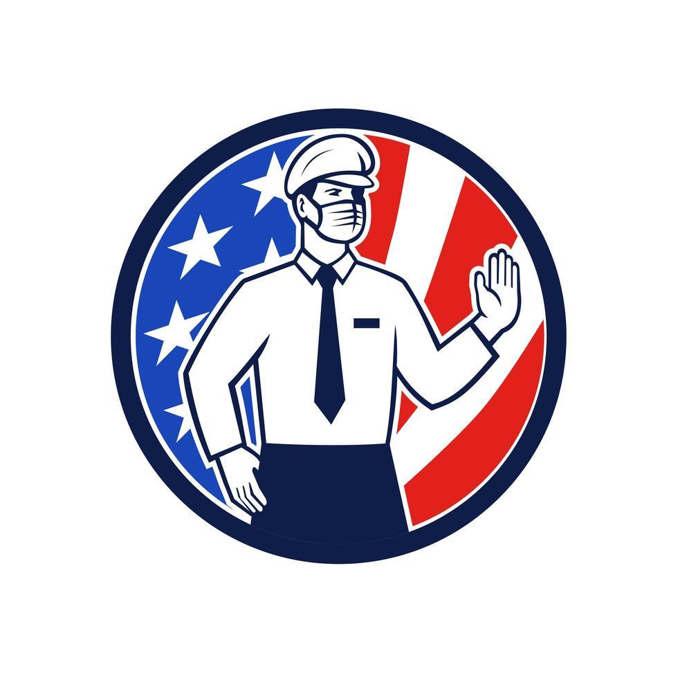 amerikanische Einwanderungsoffiziermaske stoppt Handzeichenikone vektor