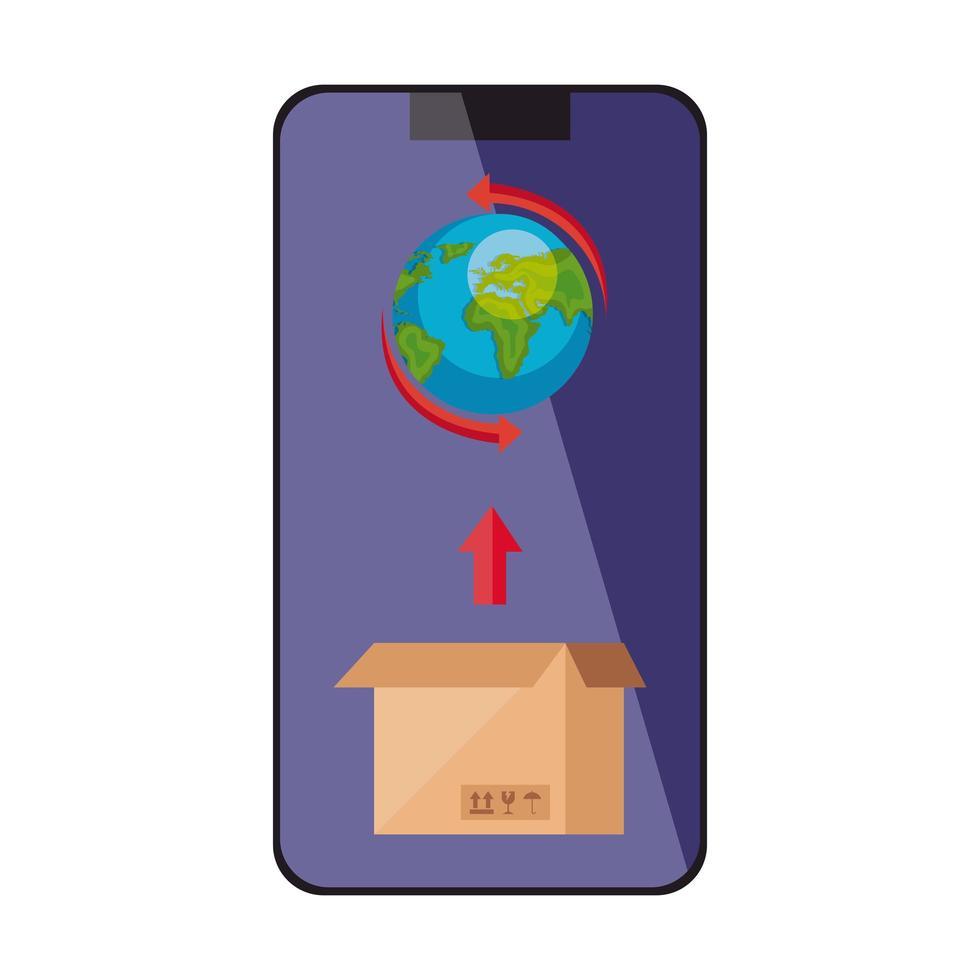 världsplanet med låda i smartphone isolerad ikon vektor