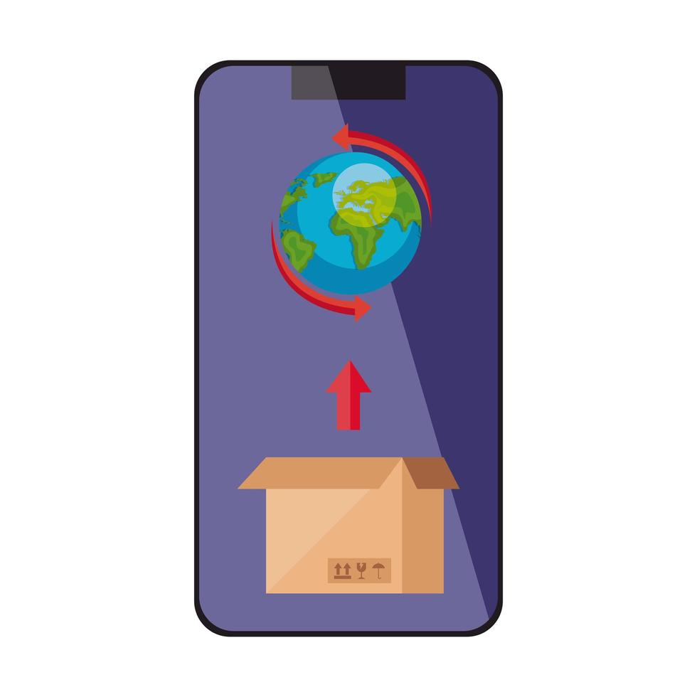 Weltplanet mit Box im Smartphone isoliertes Symbol vektor