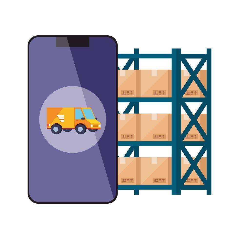 smartphone med logistiktjänstapp vektor