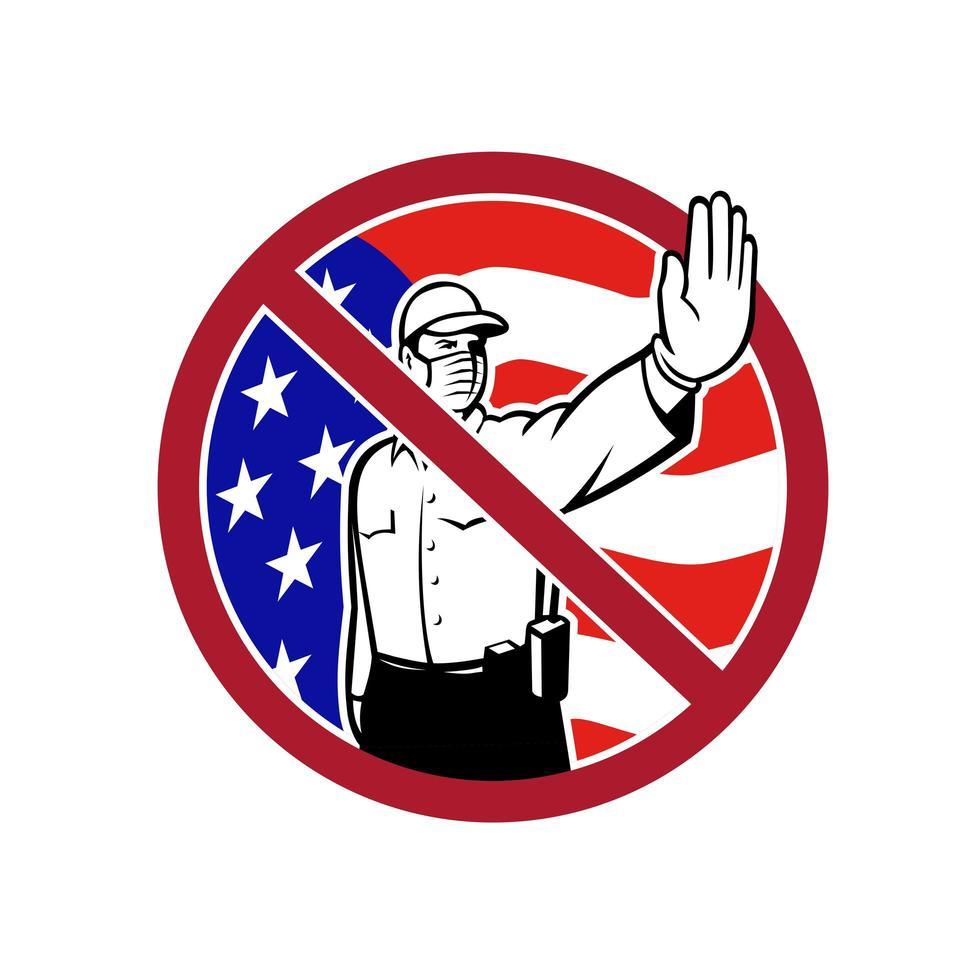 amerikansk gräns säkerhet inget inträde tecken vektor