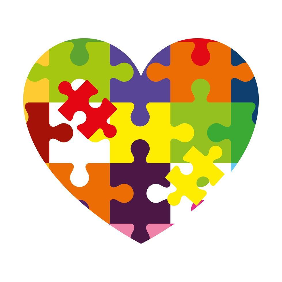 Herz der Puzzleteile Ikone vektor