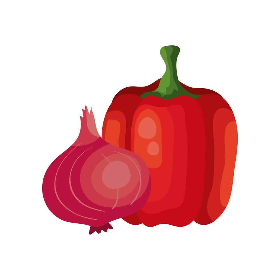 lila lök med peppar grönsaker isolerad ikon vektor