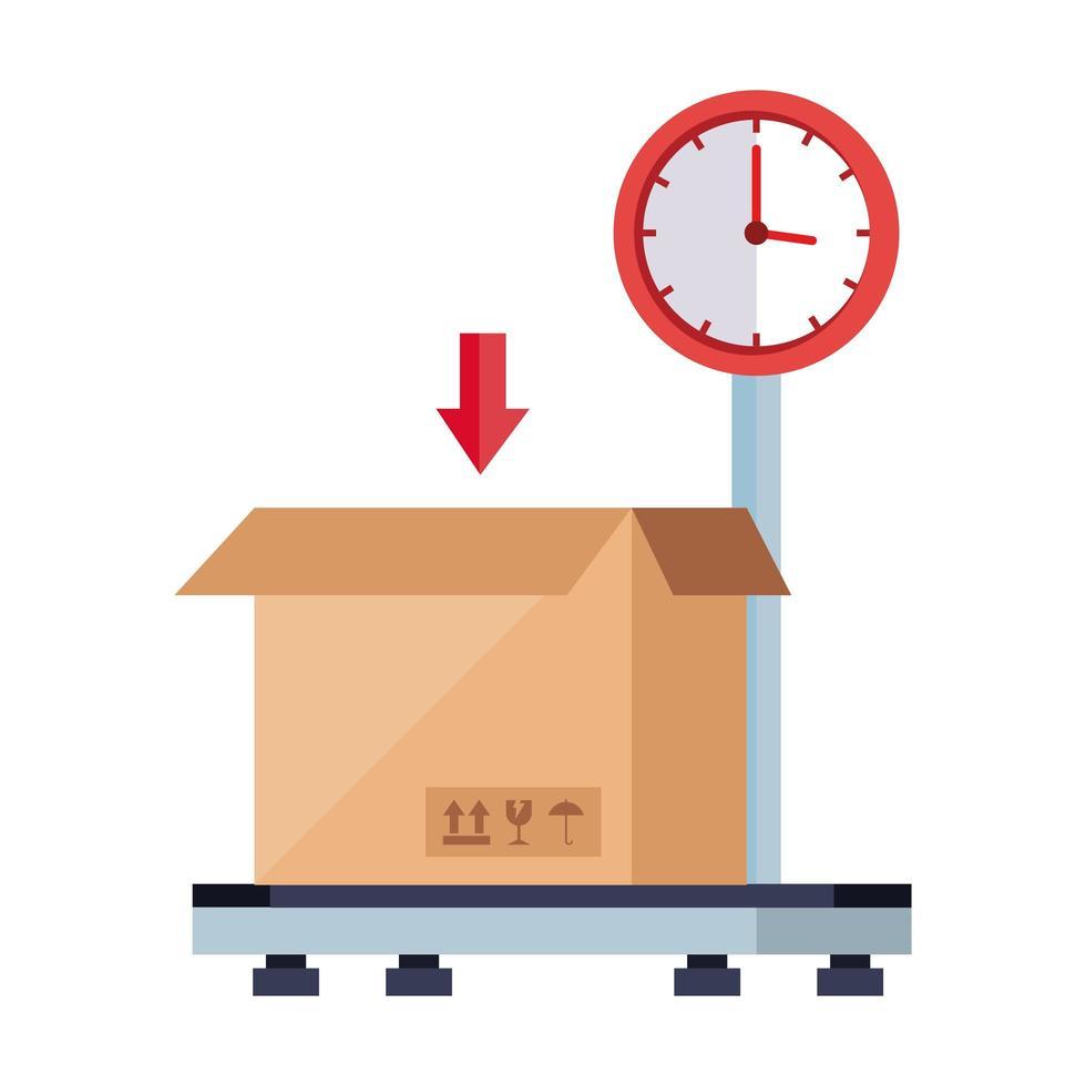 låda paket last i vägning maskin isolerad ikon vektor