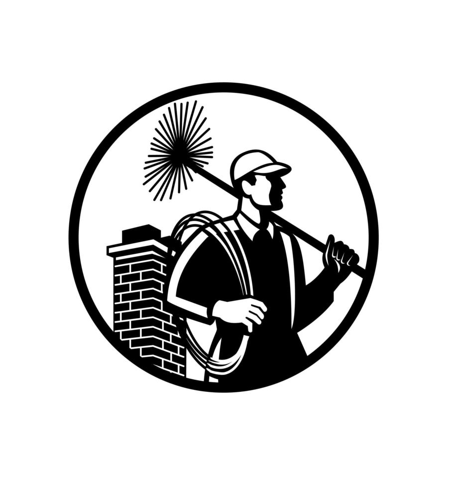skorstens svep håller sopmaskin logotyp vektor