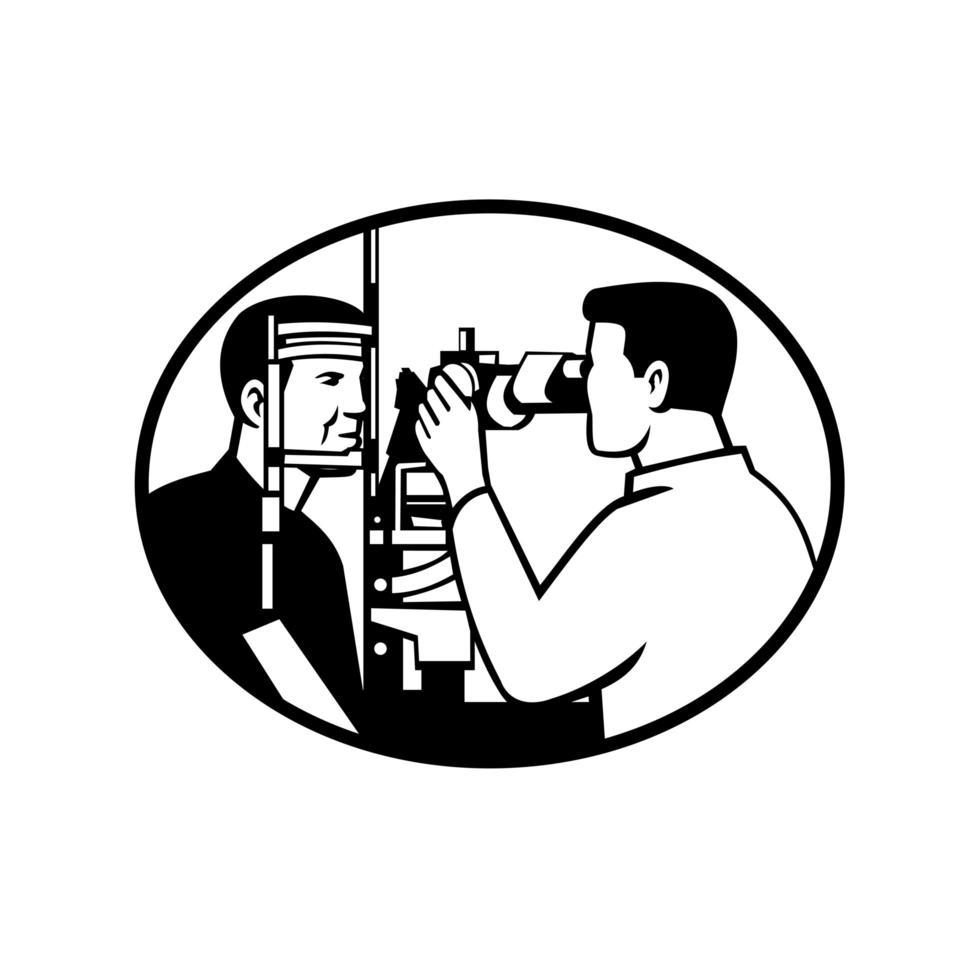 Patient und Optiker oder Optiker mit Sehtest vektor