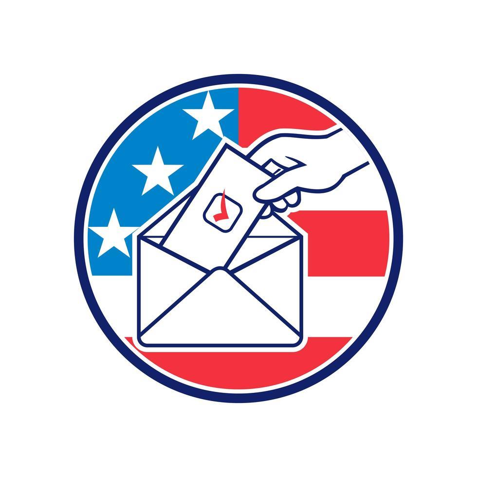 Abstimmung der amerikanischen Wähler mit Briefwahl während der Wahl vektor