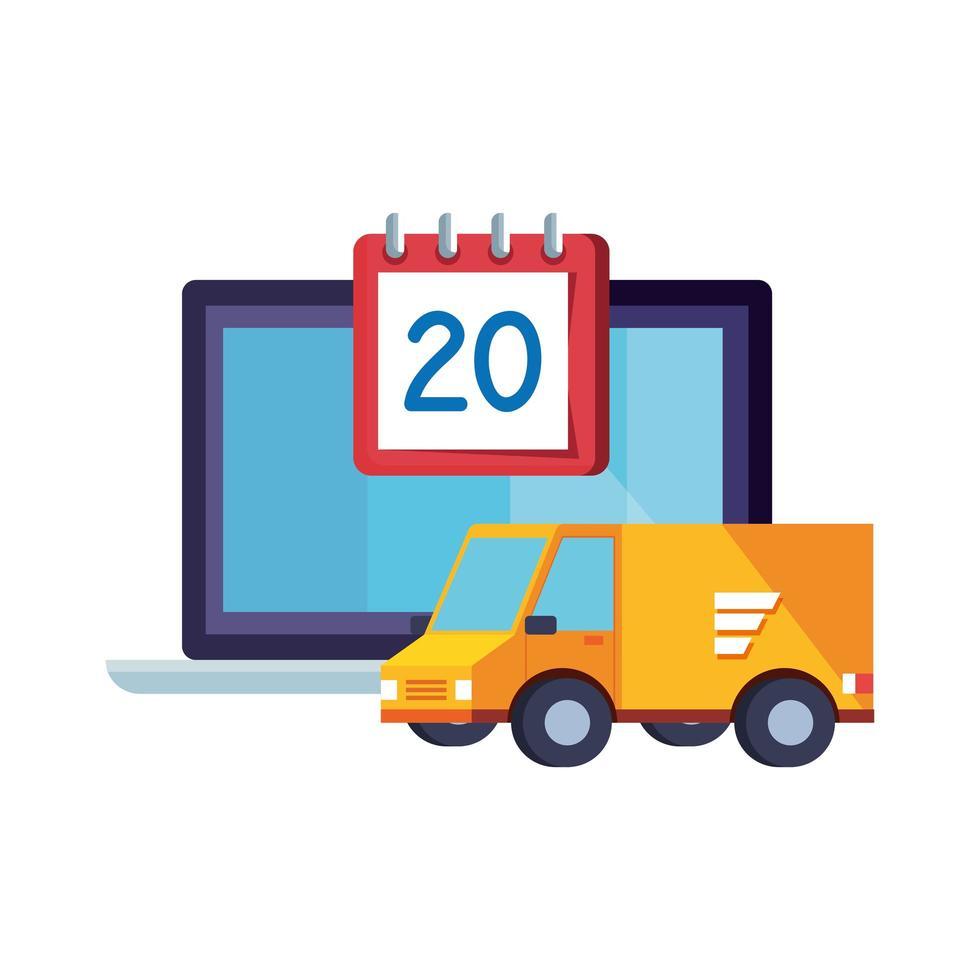 Lieferservice Van mit Kalender und Laptop vektor