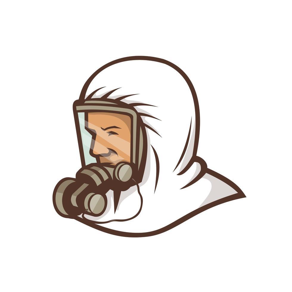 Gesundheitspersonal, das Gesichtsmaskenmaskottchen trägt vektor