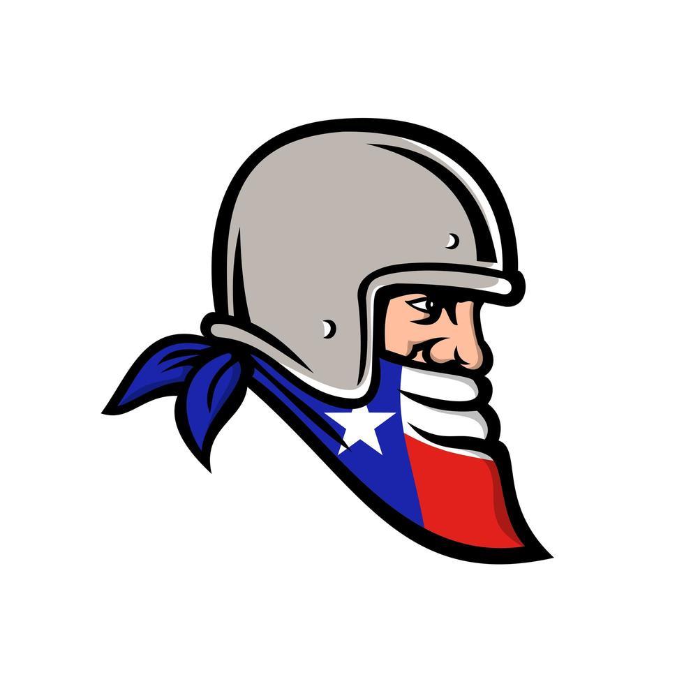 texan bandit iklädd bandana texas flagga maskot vektor